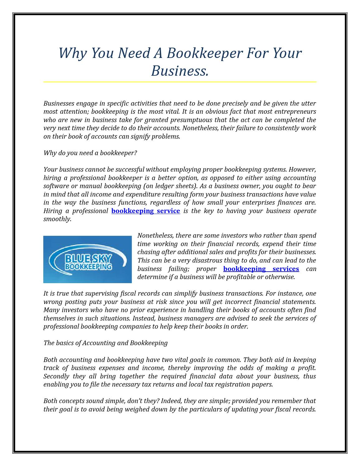 manual bookkeeping for small business